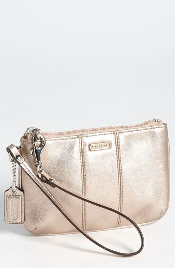 coach small leather wristlet in rose gold nordstrom i m gonna rh pinterest com