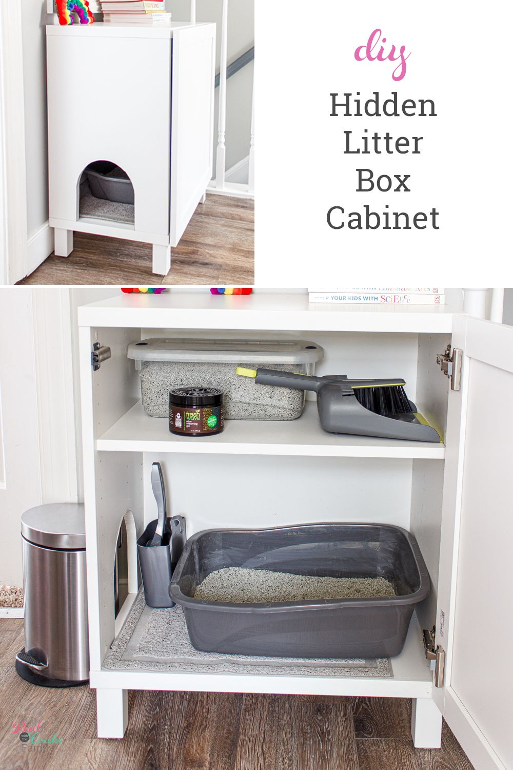 This is the best litter box idea I've seen to make a DIY hidden litter box for the cat using an IKEA cabinet. The litter box enclosure an easy project that is dog proof and cheap. #LitterBoxIdeas #IKEAHack #LitterBoxEnclosure