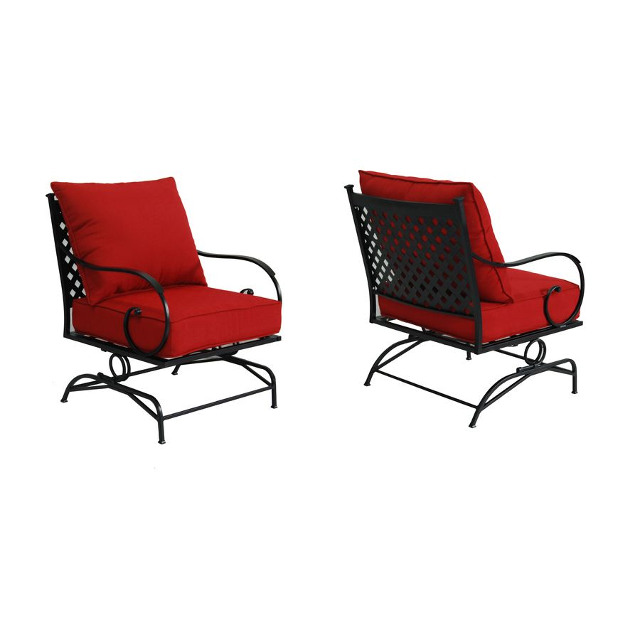 Red Patio Chairs Garden Treasures Yorkford 2 Count Black Steel Spring Motion Patio