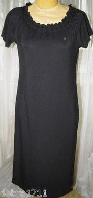 "TALBOTS SMALL Black dress cotton comfort scrunch decorative neckline 39"" long"