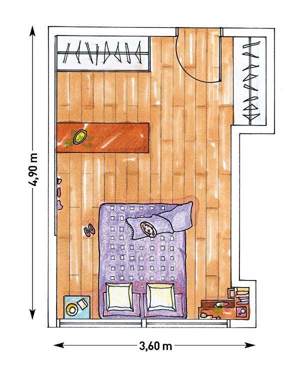 Dormitorios con vestidor: distribución | Plano de ...
