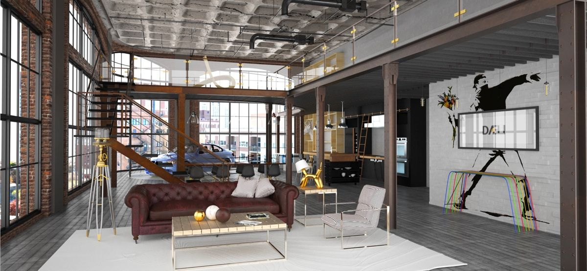 Industrial Living Room Design Delectable Luxurious Living Room Design With Modernclassic Interior  Lofts Decorating Design