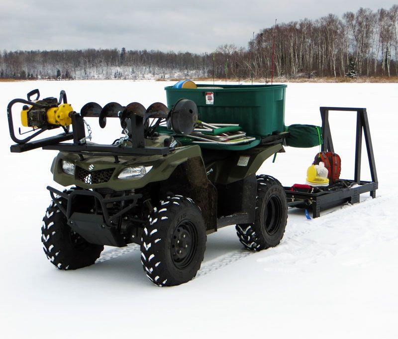 ATV Auger Mount ice fishing sled   DIY   Ice fishing sled