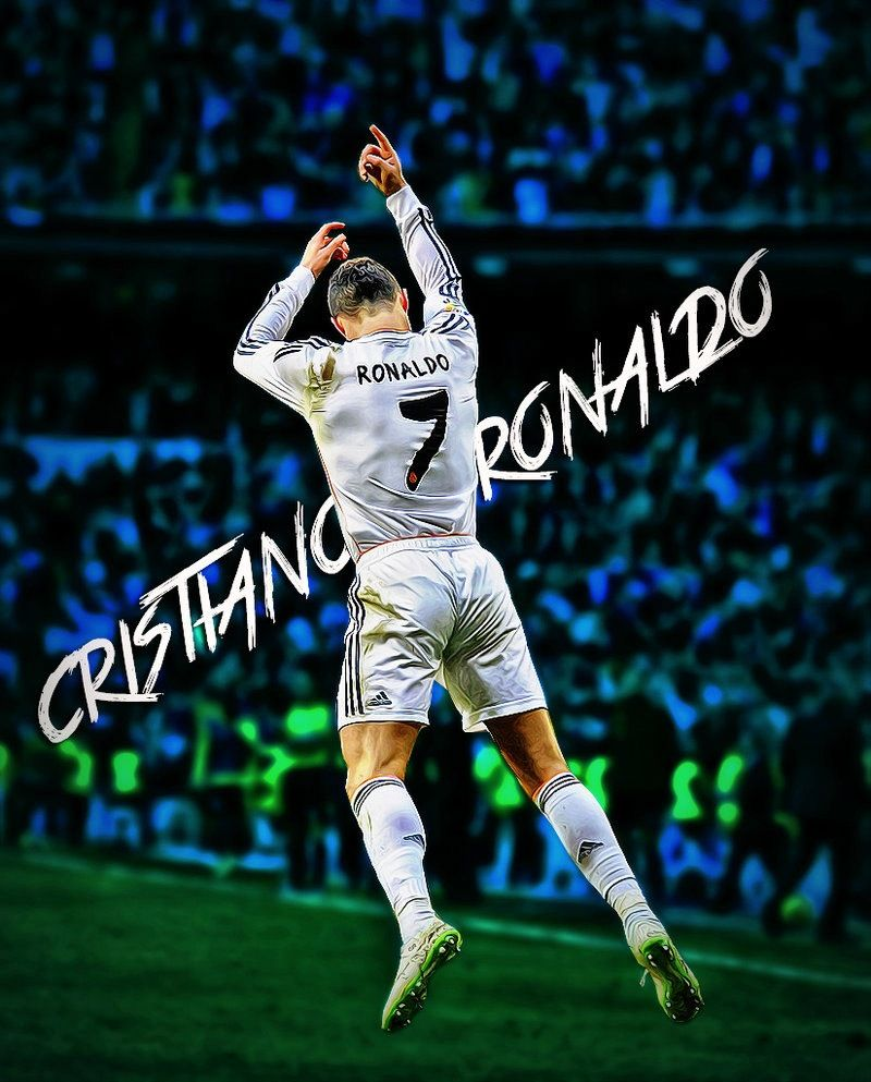 Jumping Celebration Cristiano Ronaldo Real Madrid 2014