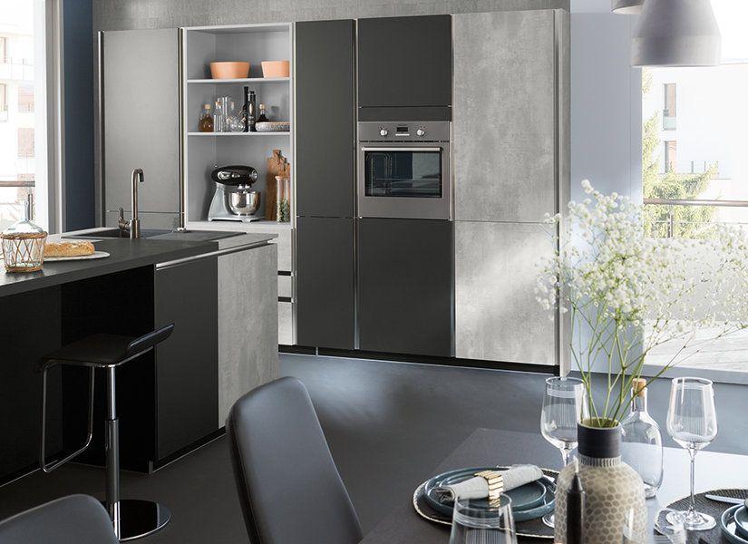 Ambiance Fabrik | Plan de travail stratifié, Cuisine moderne grise ...