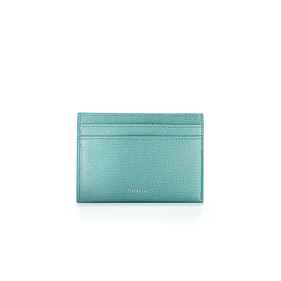 Flat card case in light teal textured leather | Tiffany & Co ...