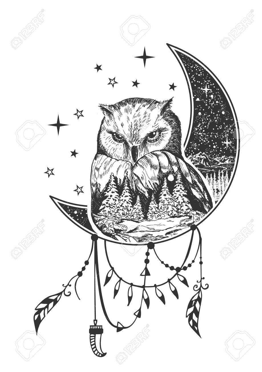 Owl Crescent Moon Tattoo Google Search Owl Tattoo Shirt Print Design Owl Tattoo Design