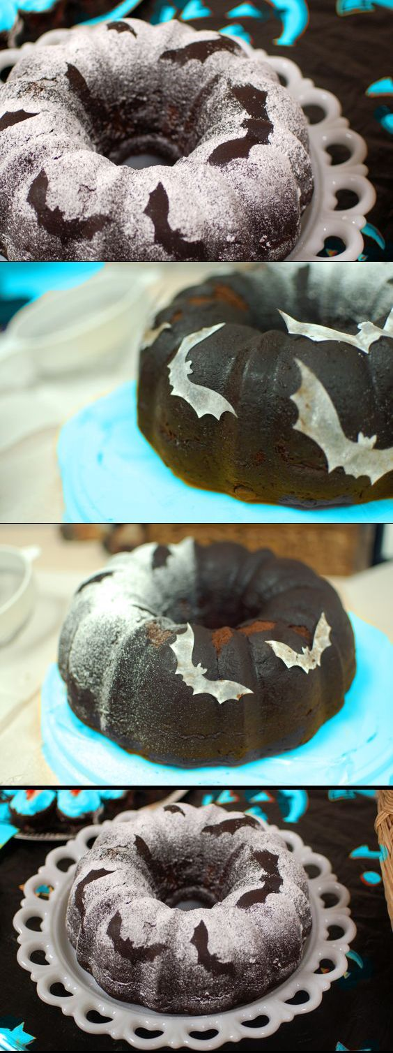 recipe: batty bundt cake. halloween bat & boo ball theme party