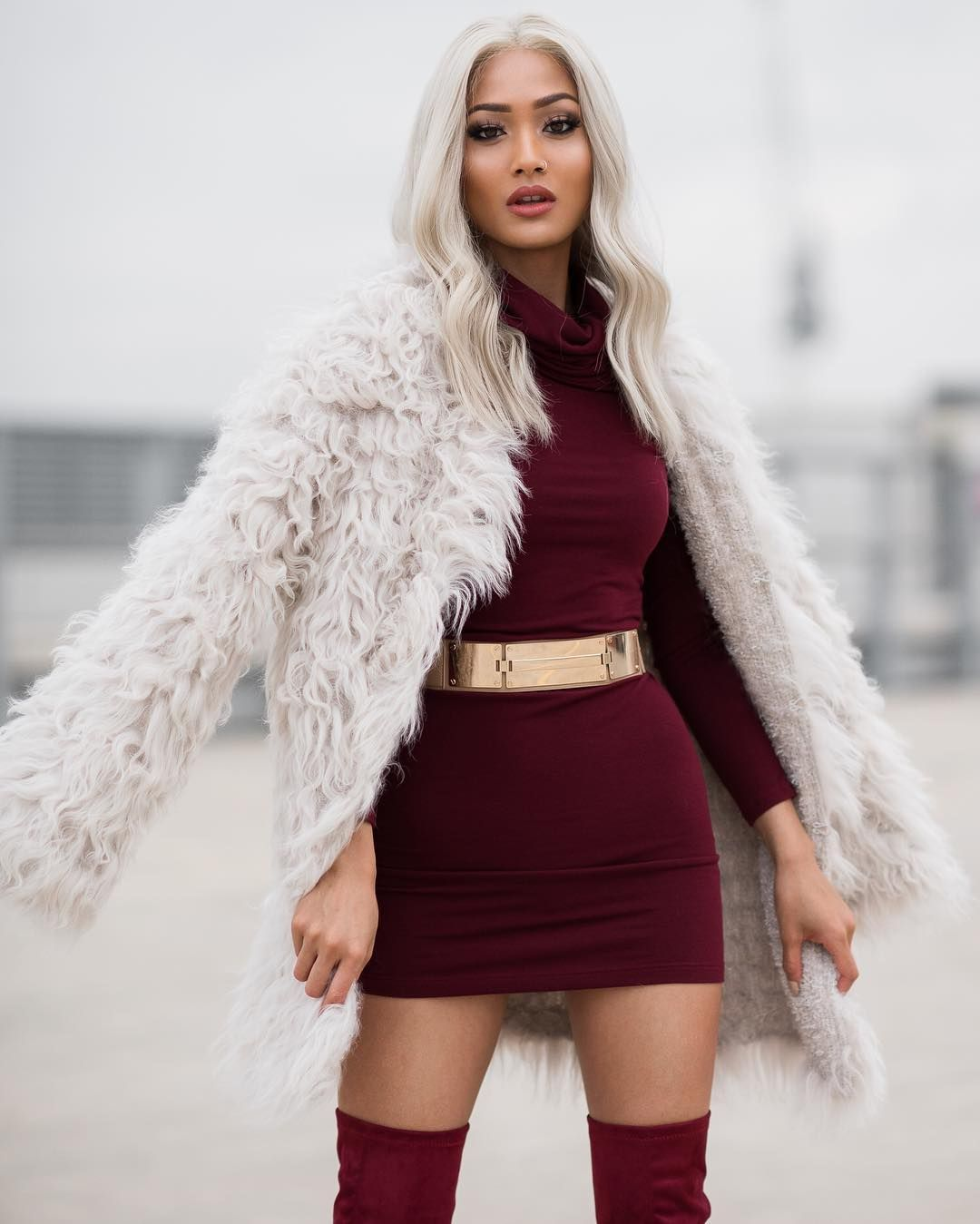 775edfac1f660 Micah Gianneli in faux fur coat and Burgundy dress   My style ...