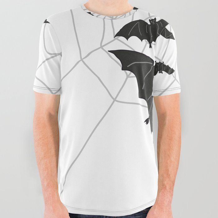 Black Bats with Spider Web Halloween All Over Graphic Tee by carmenjc