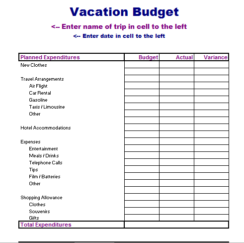 Vacation Budget Template  Vacation Budget TemplateStock Card