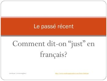 This product includes both an English and a French version.  Each version is 9 slides in length.  It includes notes as to how to form the pass rcent and when you would use this structure.  Also included are slides with examples and sentences to do together with the teacher.