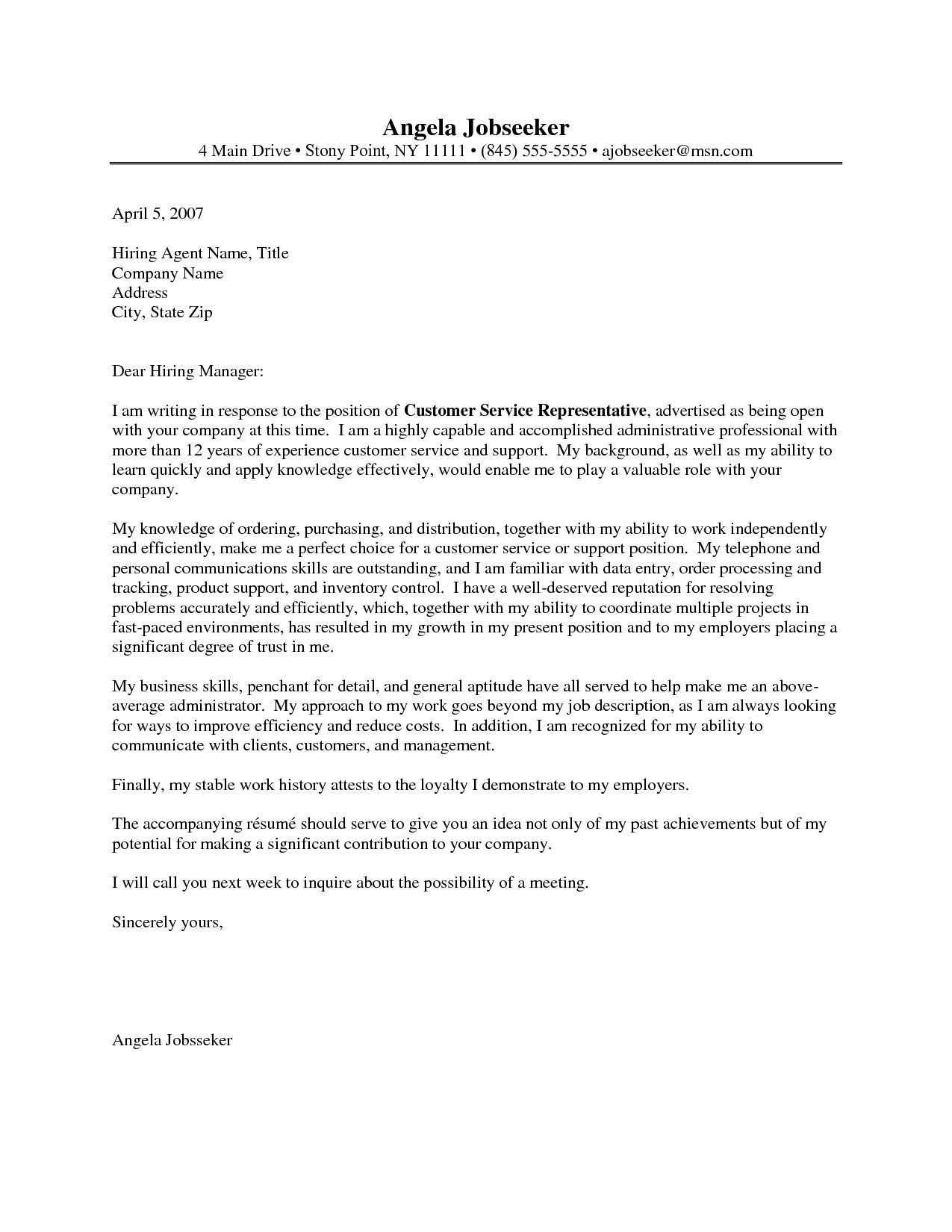 23 Customer Service Representative Cover Letter Professional Letters Photographic