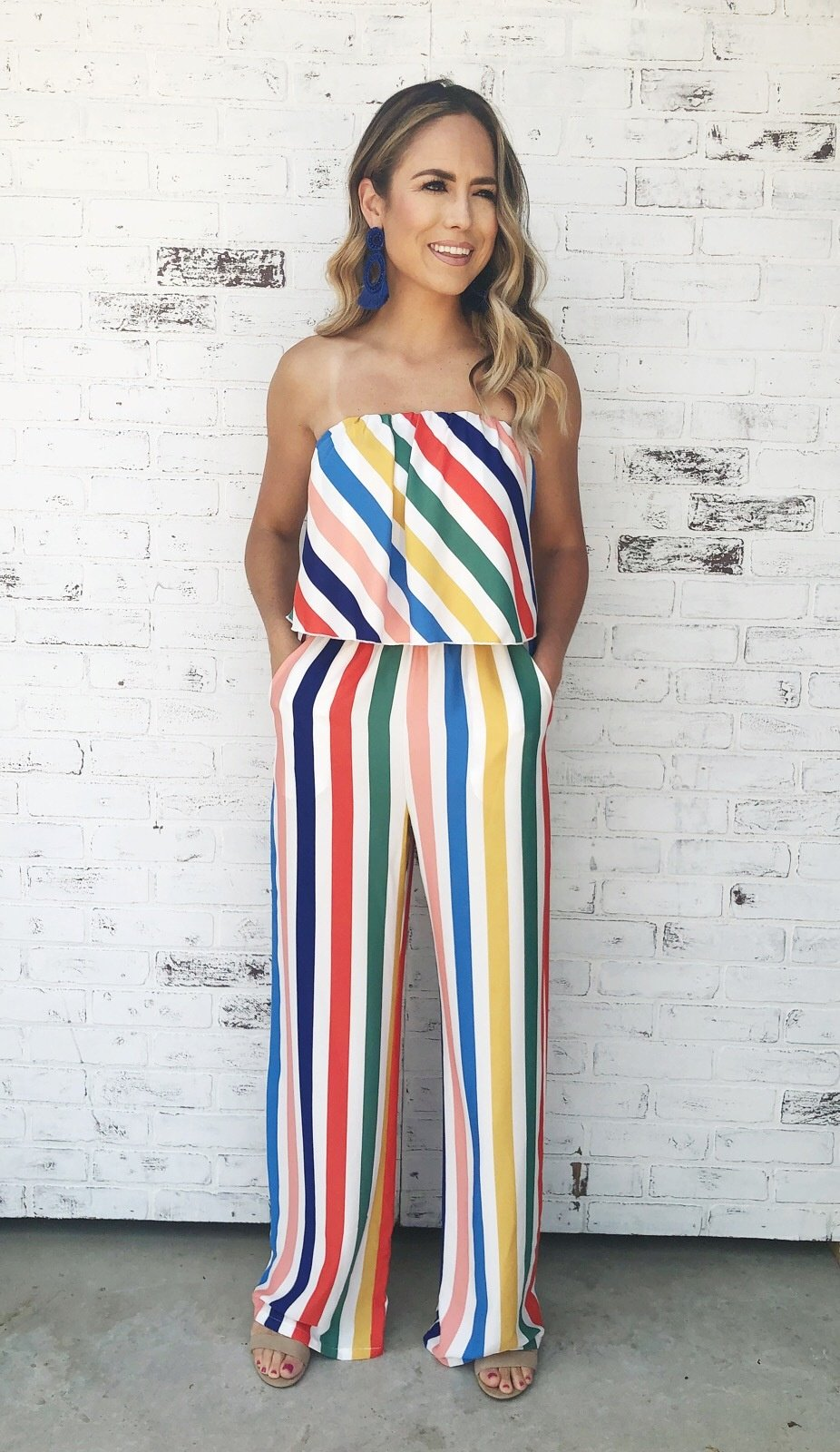73116b8eb7f9 Multi-color striped strapless jumpsuit with pockets. Palazzo pant jumpsuit.  Strapless jumpsuit. Striped jumpsuit. Jumpsuit with pockets.