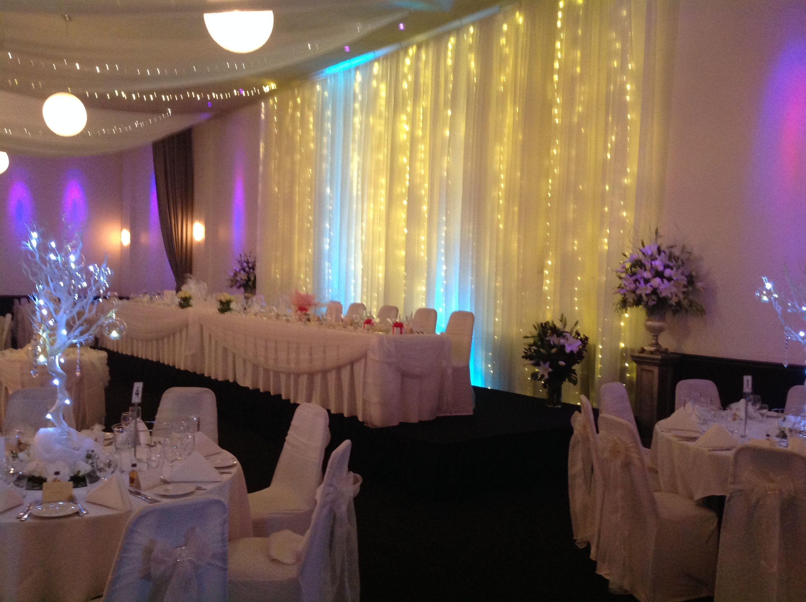 Add sparkle to your bridal table backdrop with strings of