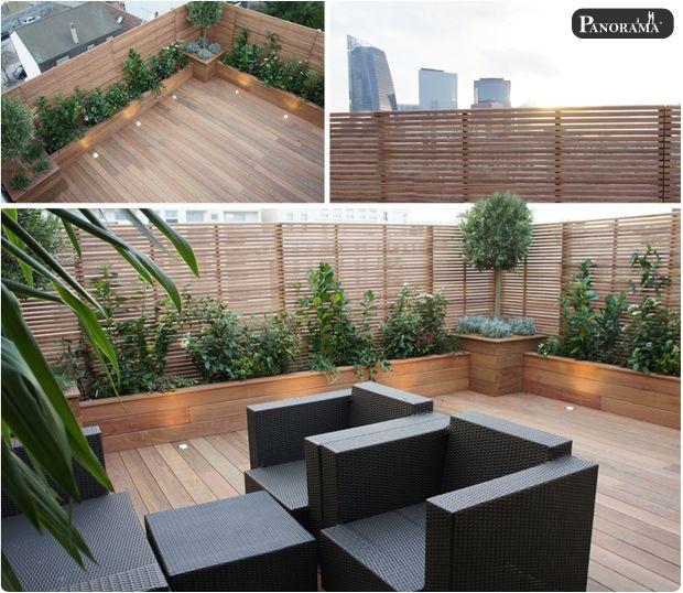 Toit terrasse bois exotique ip courbevoie 92 archi for Patio exterieur arriere