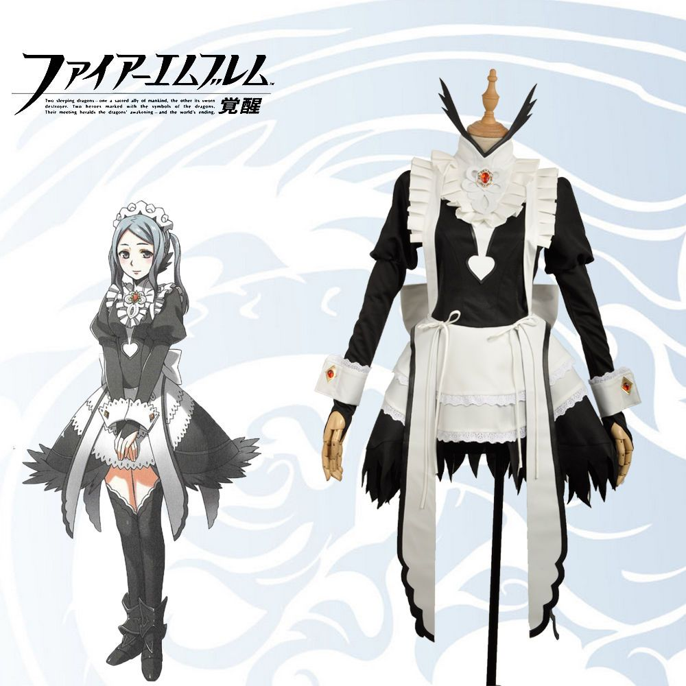 Fire Emblem Awakening//Fates Flora Cosplay Maid Suit Outfit Dress Costume Gown