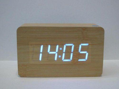 Amazon Com Jianxiu Modern Wood Wooden Led Clock Digital Alarm Clock Desktop Temperature Time Bamboo Electronics Clock Digital Alarm Clock Led Clock