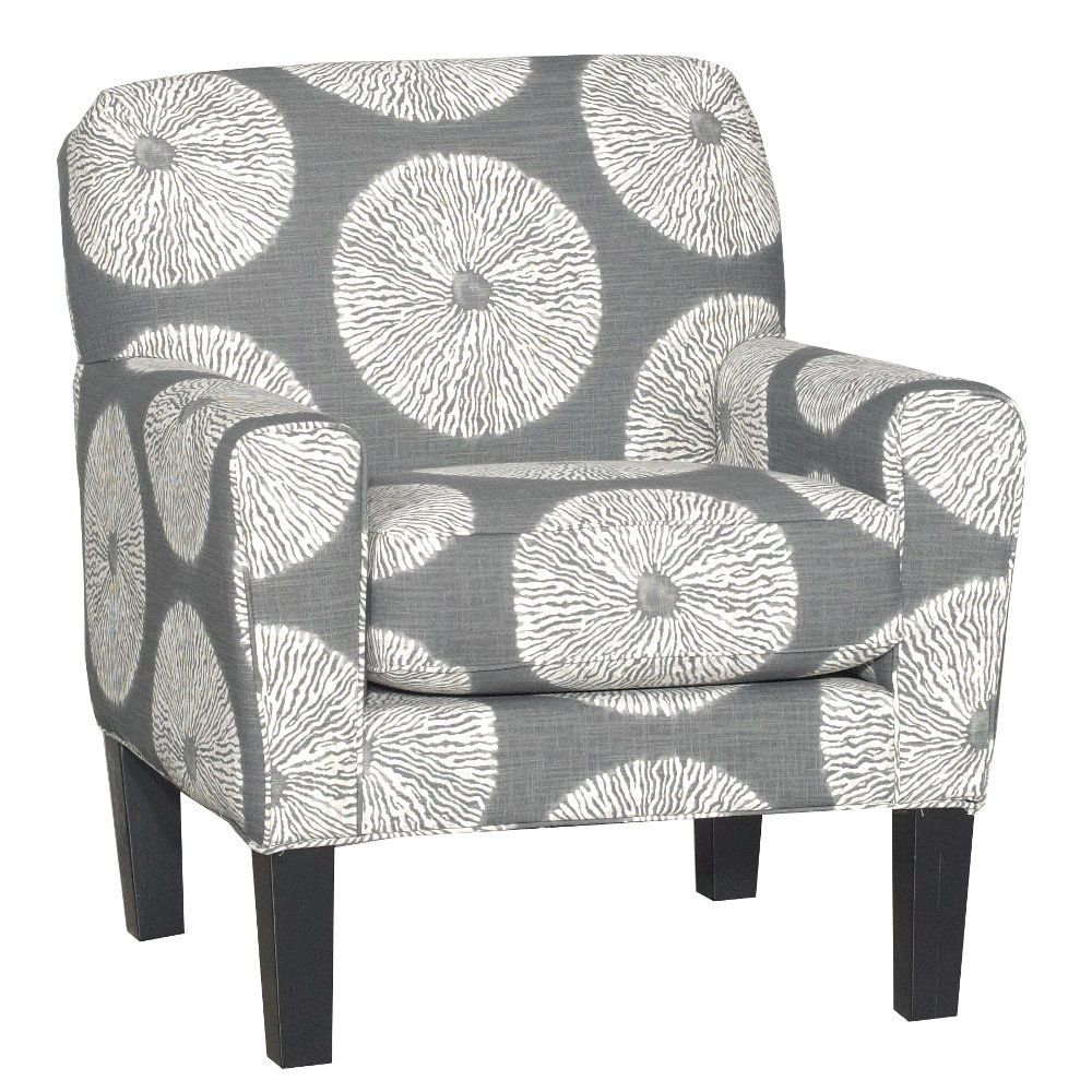 Casual Contemporary White Gray Accent Chair Raven Grey