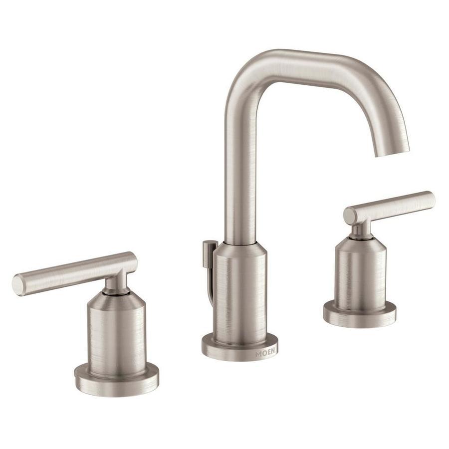 Moen Gibson Brushed Nickel 2 Handle Widespread Watersense Bathroom Sink Faucet With Drain Lowes Com High Arc Bathroom Faucet Bathroom Faucets Moen Bathroom Faucets [ 900 x 900 Pixel ]