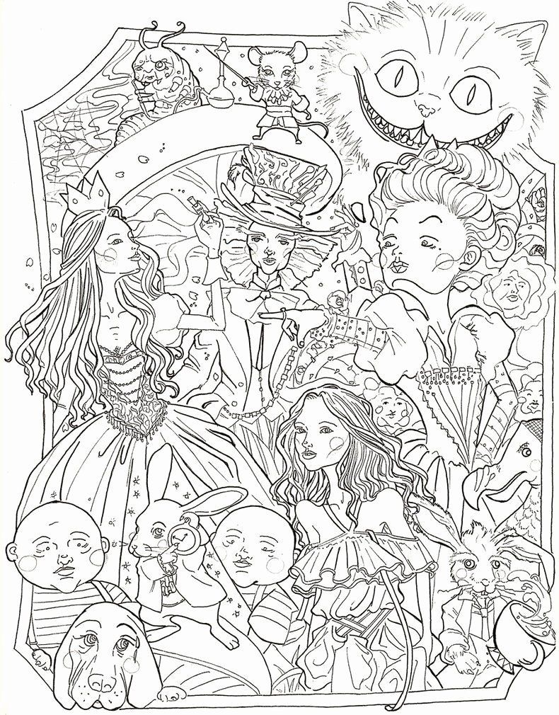 Coloring Books For Adults Disney Lovely Alice In Wonderland By Sidoans Gambar Disney Tinkerbell [ 1010 x 790 Pixel ]