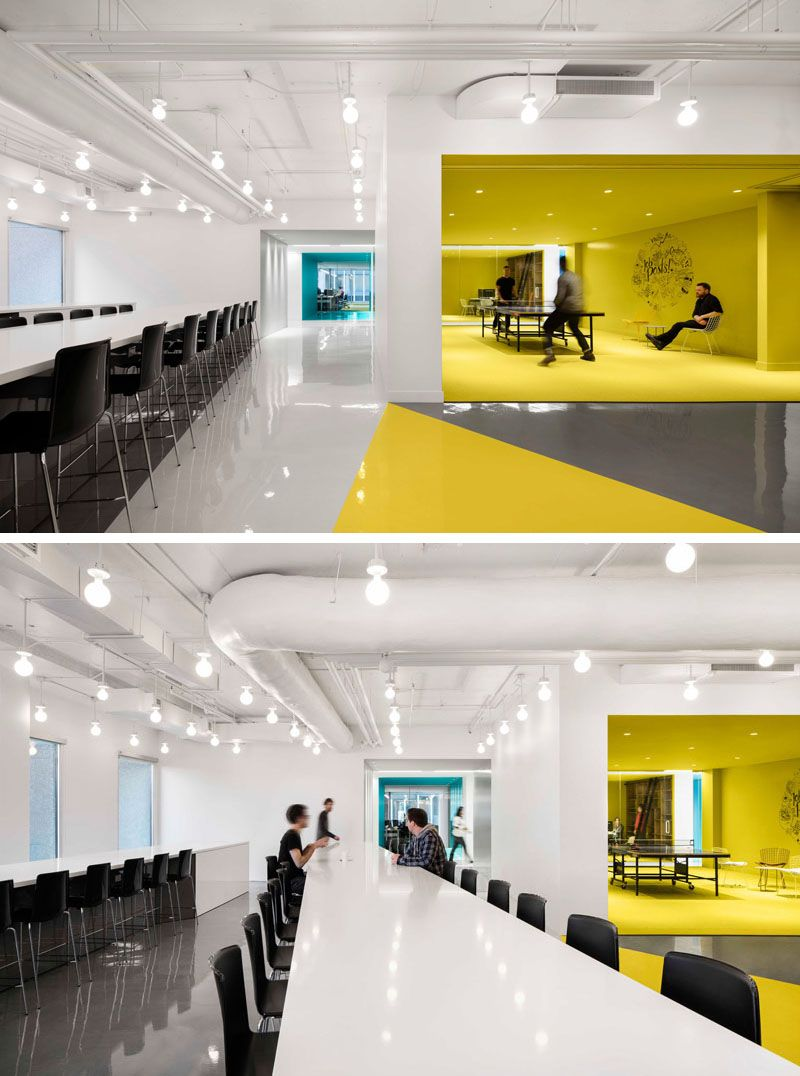concept office interiors. This Contemporary And Open-concept Office Design Is Mostly White, However Bold Pops Of Concept Interiors