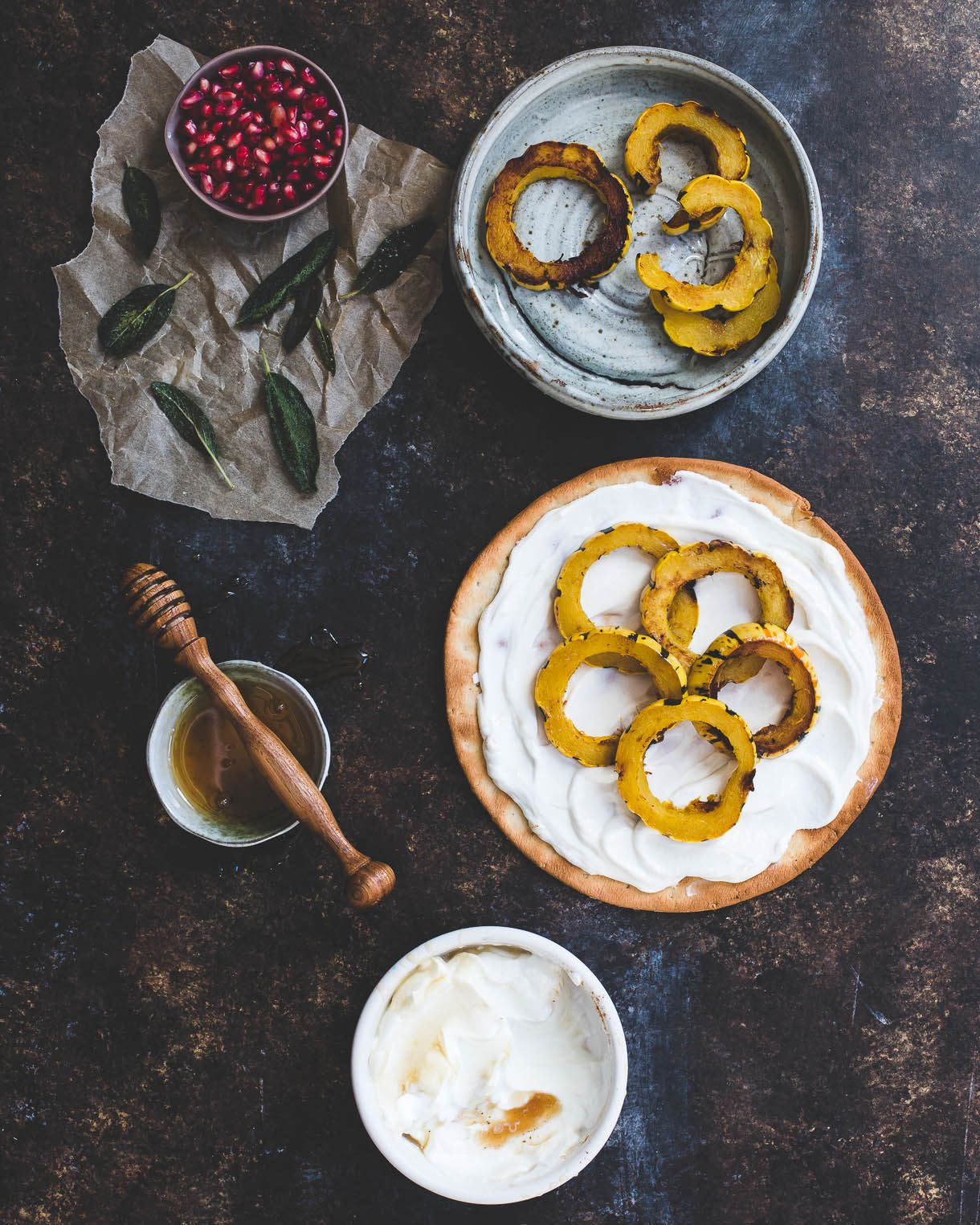 Sweet Delicata Pizza with Fried Sage, Pomegrante, and ...