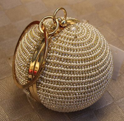 Free Shipping Women s Pearl Boll Evening Bag Round Ball Pearl Beaded Clutch  Purse Mini Handbags Full Pearl Wedding Party Bags