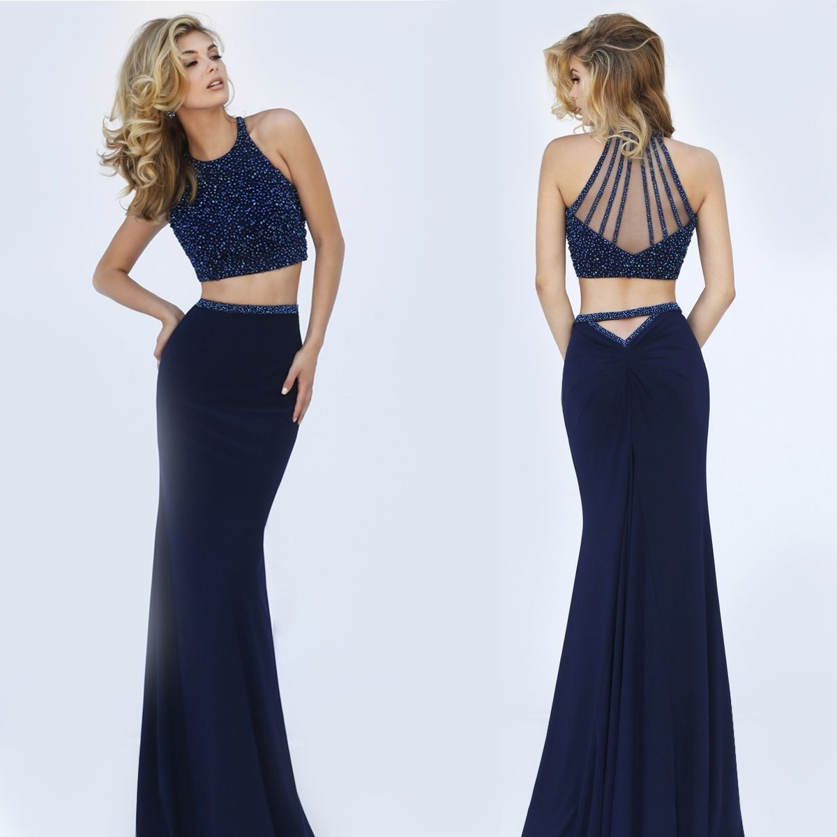 Navy Blue Two Piece Beaded Illusion Top Dress by Sherri Hill | Prom ...