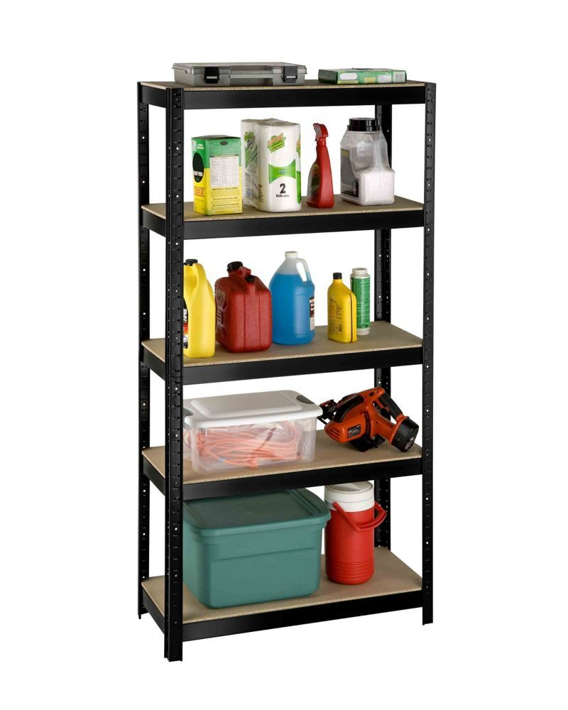 5 Shelf Slotted Storage Rack With Particle Board Shelves Small
