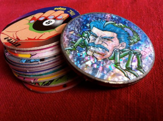 Cool Pog Game slammer and 12 pogs by WildGooseChase on Etsy