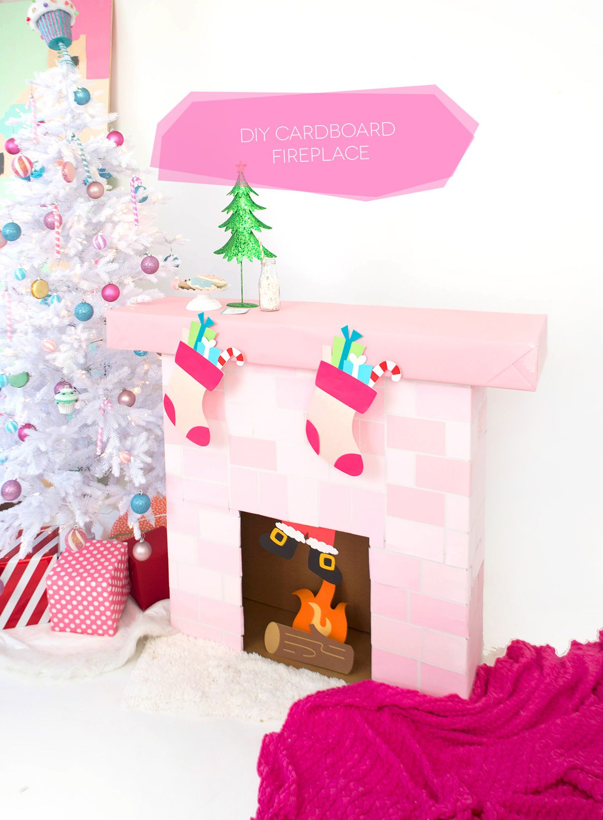DIY Cardboard Box Fireplace Christmas Fun Pinterest Diy