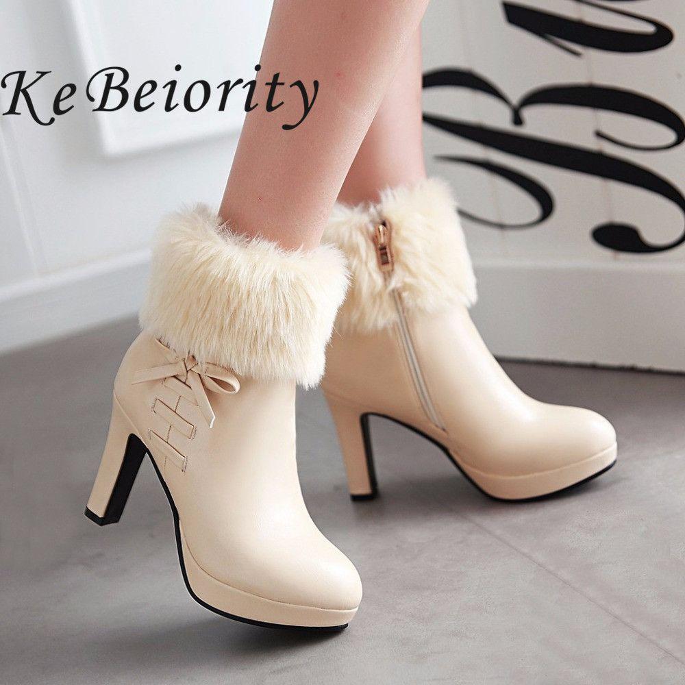 1d42b97feb25 Barato Novo 2017 mulheres outono e inverno botas de salto alto botas botas ankle  boots de salto sapatos de plataforma das mulheres do salto fino preto ...