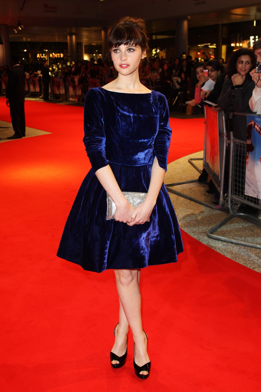 Style Profile Felicity Jones Velvet Clothes Blue Velvet Dress Chalet Girl