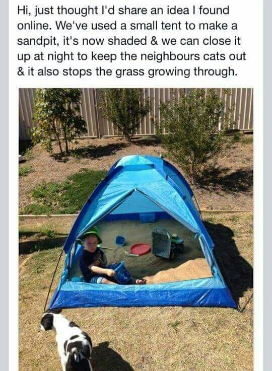 Sand Tent to keep kids shaded and can be closed to keep animals out at night. & Sand box in a tent! Brilliant! Shade for little one and can be ...
