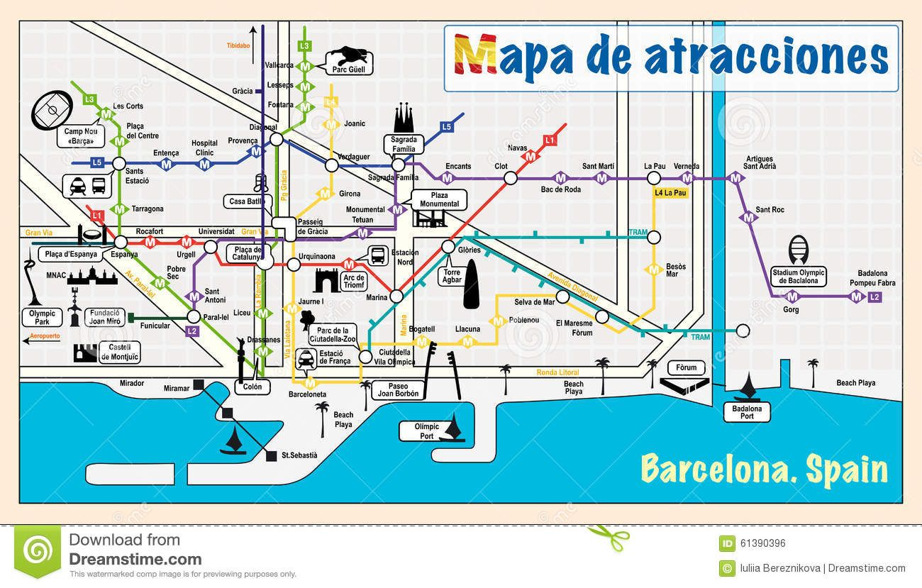 Barcelona Attractions on metro map New Zone B Pinterest