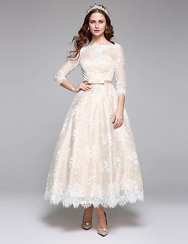 faca42b35 Corte en A Escote de ilusión Hasta el Tobillo Encaje Satén Vestido de novia  con Encaje Cinta   Lazo por LAN TING BRIDE®