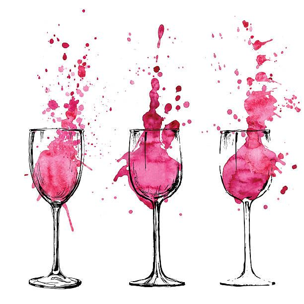 Sketched Illustration Of Wine Spilling Out Of Their Glasses Vector Art Illustration Wine Painting Art Painting Wine Art