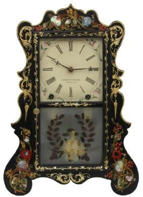 E.C. Brewster Black Lacquer Mantle Clock