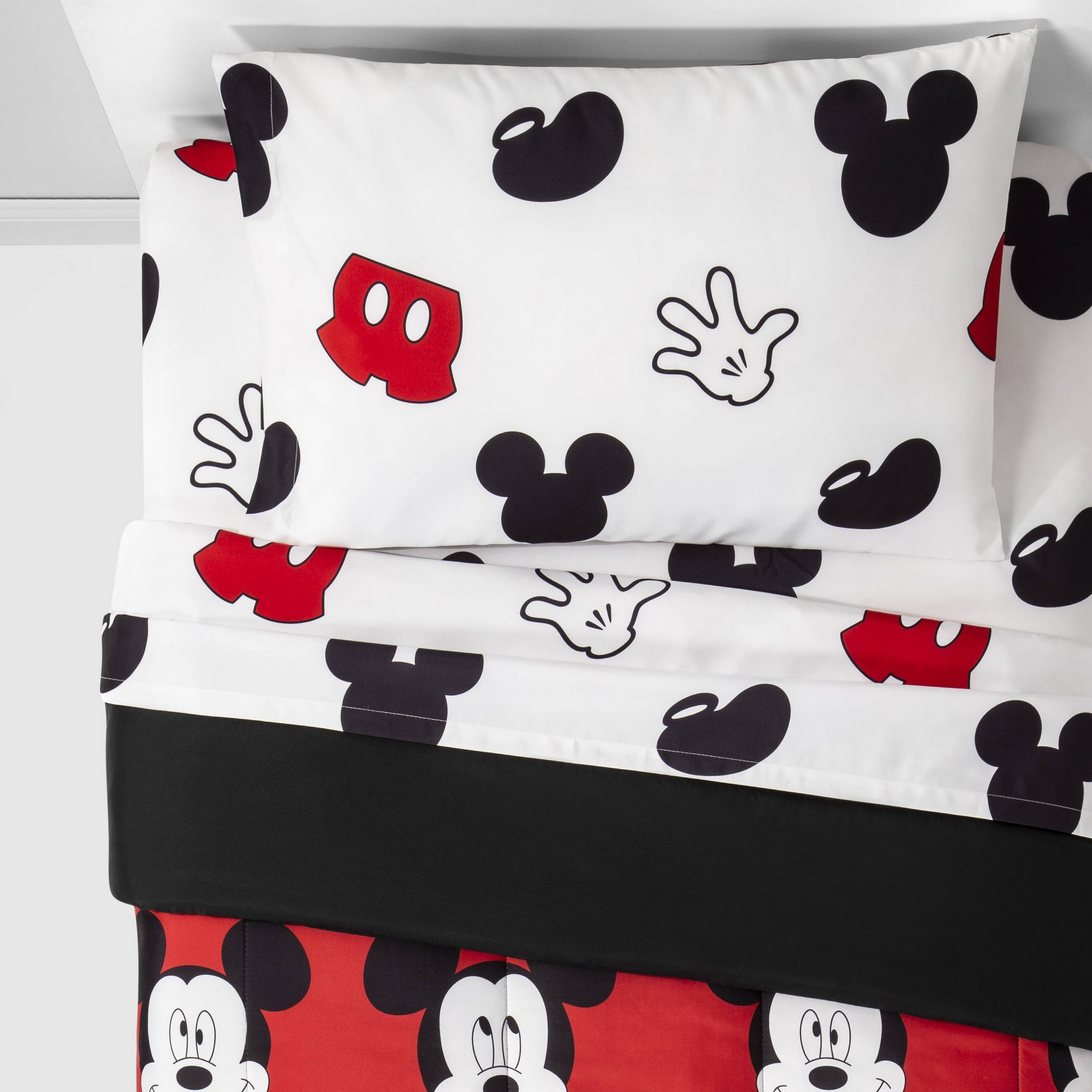 Mickey Mouse Full Cute Faces Bedding Set Red