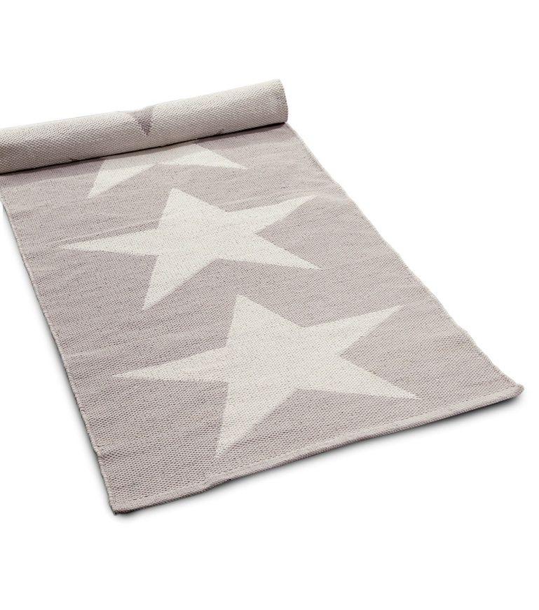 Koodi Stars-puuvillamatto, harmaa, 80 x 200 cm | Uutta sisustuksessa: Talven valkoista lumoa | Hobby Hall