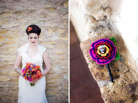 Day of the Dead wedding styling with that awesome bouquet, and ...