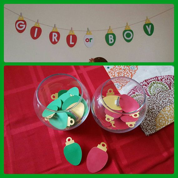 Christmas Gender Reveal Theme.Holiday Tree Or Winter Party Gender Reveal Pack Boy Or Girl