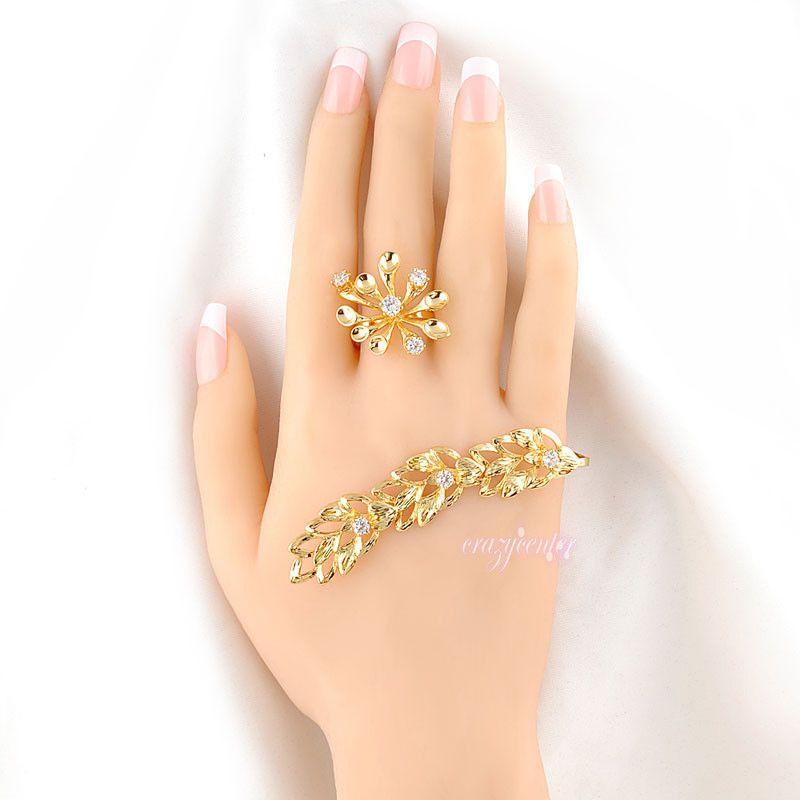 wheat flower palm bracelet ring Swarovski element crystal Punk ...