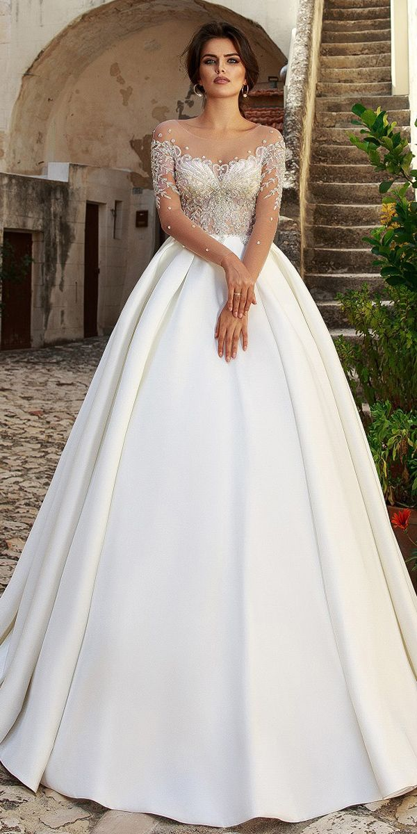 Magbridal Glamorous Tulle Scoop Neckline See-through Bodice Ball Gown Wedding Dress With Beaded Embroidery