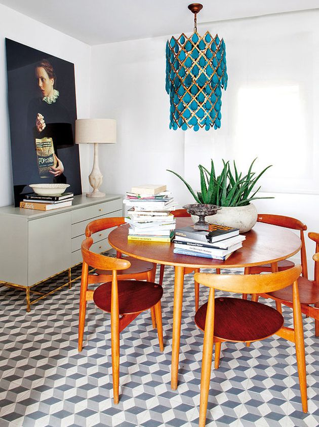 dining place, mid century chairs, eclectic
