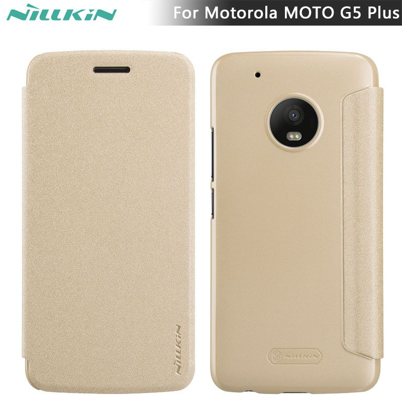 super popular 5d602 35175 Flip Leather Case for MOTO G5 Plus NILLKIN Sparkle flip cover PU ...