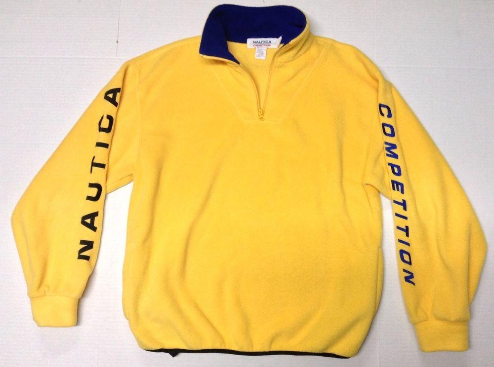 Vintage Nautica Competition Fleece Sweatshirt Yellow & Blue Large ...