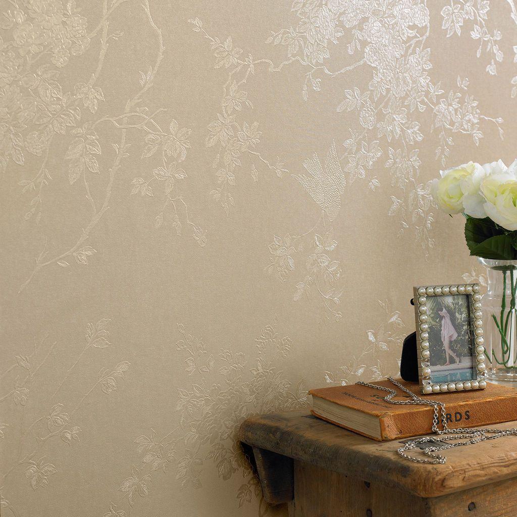 Spring Blossom Golden Wallpaper, , large Golden