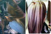 Photo of Reflejos rubios platino con moca y color de cabello púrpura #design #designe …..